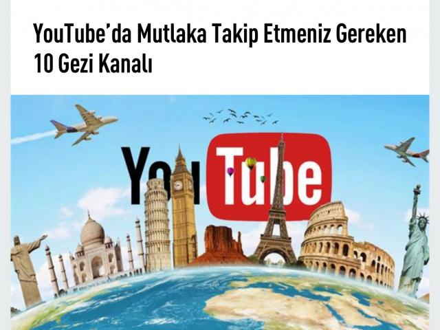 Youtube'da en sevilen gezi program kanalları