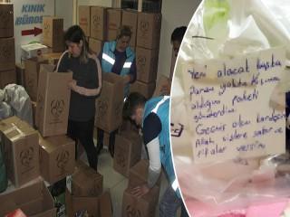 Yardım paketinden çıkan not herkesi göz yaşına boğdu