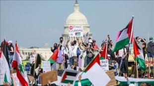 ABD'nin başkenti Washington'da binlerce kişi Filistin'e destek gösterisi düzenledi
