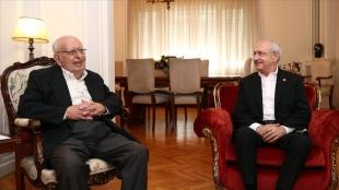 CHP Genel Başkanı Kılıçdaroğlu, eski TBMM Başkanı Hüsamettin Cindoruk'u ziyaret etti