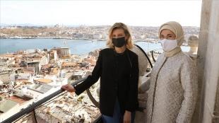 Emine Erdoğan, Olena Zelenska ile Galata Kulesi'ni ziyaret etti