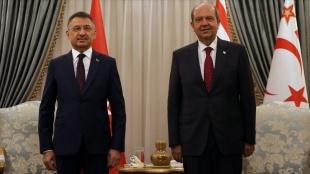 KKTC Cumhurbaşkanı Tatar, Cumhurbaşkanı Yardımcısı Oktay'ı kabul etti