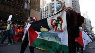 New York'ta İsrail'in Filistin işgali ve ABD'nin İsrail'e desteği protesto edild