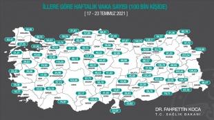 Sağlık Bakanı Koca, illere göre her 100 bin kişide görülen Kovid-19 vaka sayılarını açıkladı